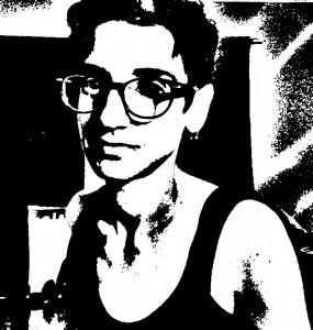 Black and white photo of Claire Laville at home in Atlanta