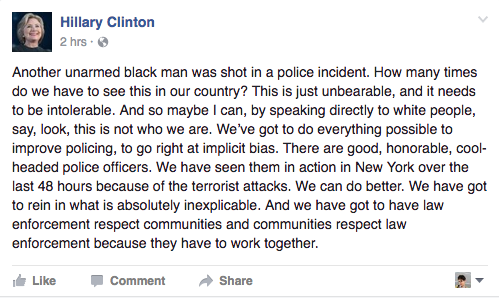 Facebook post by Hillary Clinton